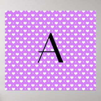 Monogram pastel purple hearts polka dots print