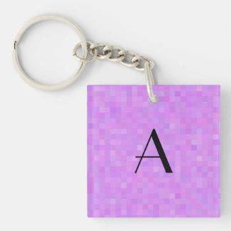 Monogram pastel purple mosaic squares Double-Sided square acrylic keychain