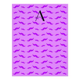 "Monogram pastel purple mustache pattern 8.5"" x 11"" flyer"