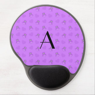 Monogram pastel purple owls and hearts gel mousepad