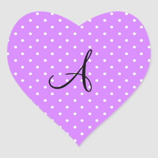 Monogram pastel purple white polka dots heart stickers