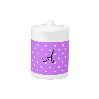 Monogram pastel purple white polka dots teapot
