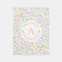 Monogram Pastel Roses Fleece Blanket for Baby Girl