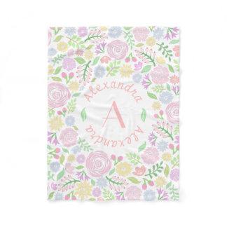 Monogram Pastel Roses Fleece Blanket for Baby Girl