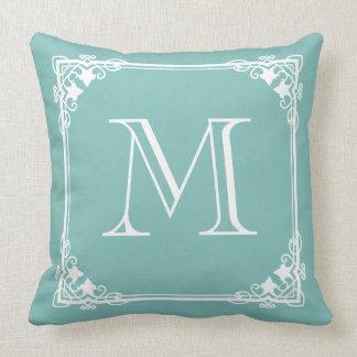 Monogram Pastel Teal Green Elegant Vintage Pillow
