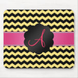 Monogram pastel yellow black chevrons mouse pads