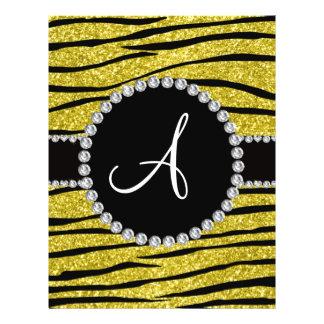 Monogram pastel yellow glitter zebra stripes circl full color flyer