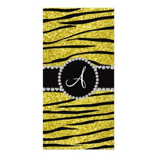 Monogram pastel yellow glitter zebra stripes circl custom photo card