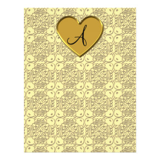Monogram pastel yellow gold moroccan damask custom flyer