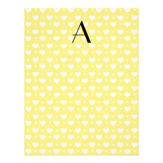 Monogram pastel yellow hearts polka dots flyers