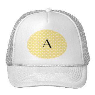 Monogram pastel yellow hearts polka dots trucker hat