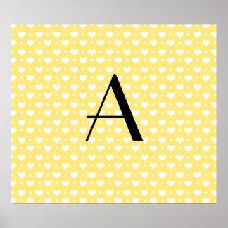 Monogram pastel yellow hearts polka dots posters