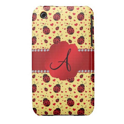Monogram pastel yellow ladybugs hearts iPhone 3 covers