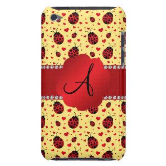 Monogram pastel yellow ladybugs hearts iPod Case-Mate case