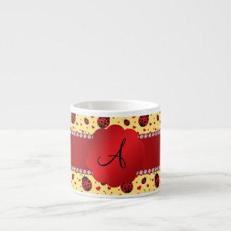 Monogram pastel yellow ladybugs hearts espresso mug