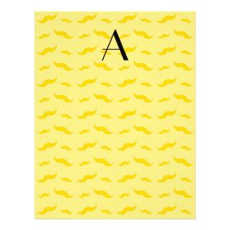 "Monogram pastel yellow mustache pattern 8.5"" x 11"" flyer"