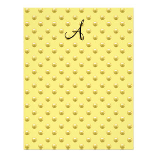 Monogram pastel yellow pearl polka dots full color flyer