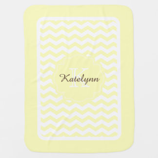 Monogram Pastel Yellow Zigzag Custom Baby Blanket