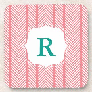 Monogram Pattern Coaster Set - Coral & Jade Green
