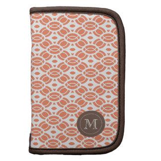 Monogram Pattern Custom Folio Mini Orange White Planner
