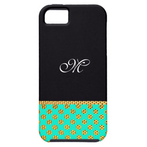 Monogram Pattern Cute Girly Mint Modern Initial iPhone 5 Cases