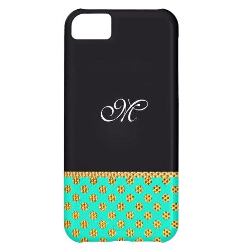 Monogram Pattern Cute Girly Mint Modern Initial iPhone 5C Cover