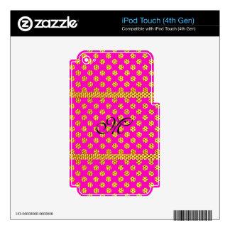 Monogram Pattern Girly Pink Trendy Bling Glitter Skin For iPod Touch 4G