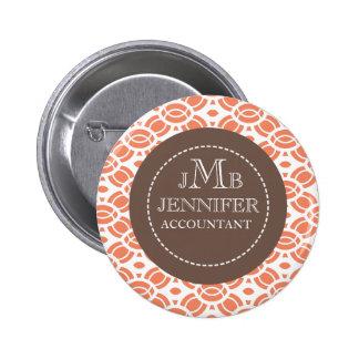 Monogram Pattern Name Badge Buttons Orange White