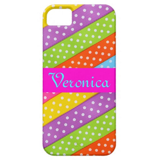 Monogram Pattern Rainbow Wedding White Polka Dots iPhone 5 Covers