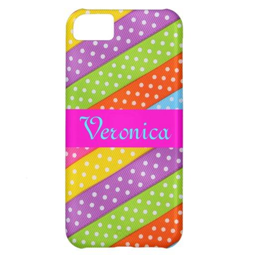 Monogram Pattern Rainbow Wedding White Polka Dots iPhone 5C Case