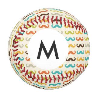 Monogram Pattern with mustache Baseball