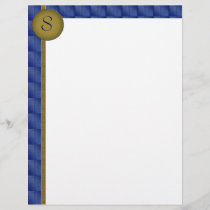 Monogram Patterned Blue Border