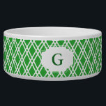 "Monogram Patterned Pet Bowl - Bright Green<br><div class=""desc"">Patterned bowls for the most important pets!</div>"