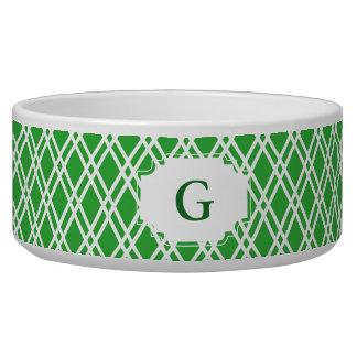 Monogram Patterned Pet Bowl - Bright Green