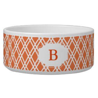 Monogram Patterned Pet Bowl - Bright Orange