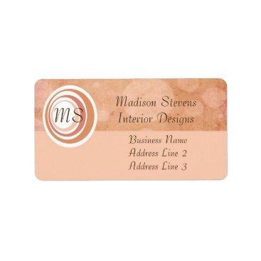 Professional Business Monogram Peach Circles Address Labels