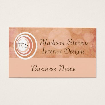 Professional Business Monogram Peach Circles Business Card Template
