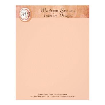 Professional Business Monogram Peach Circles Letterhead