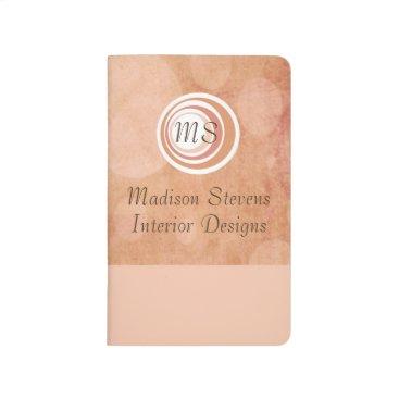 Professional Business Monogram Peach Circles Pocket Journal