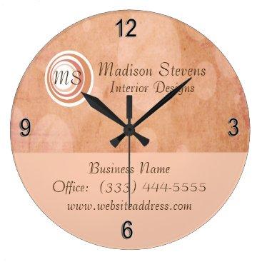 Professional Business Monogram Peach Circles Wall Clock
