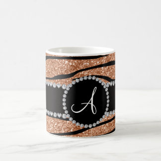 Monogram peach orange glitter zebra stripes circle coffee mug