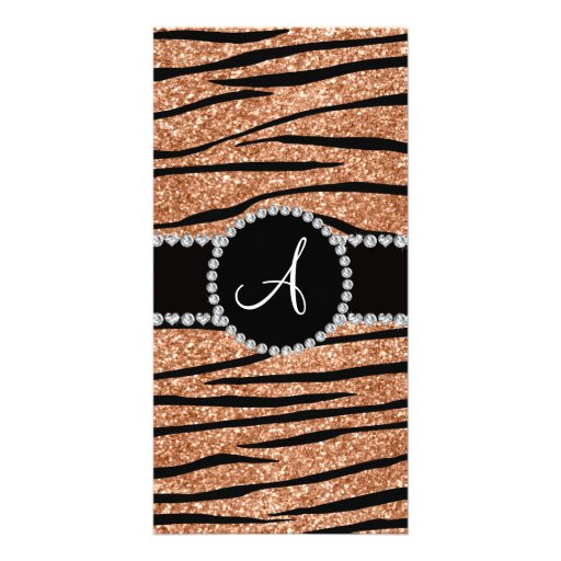 Monogram peach orange glitter zebra stripes circle photo cards