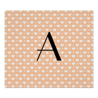 Monogram peach orange hearts polka dots print