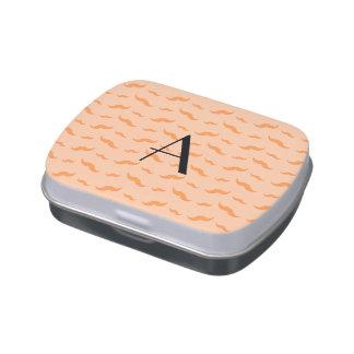 Monogram peach orange mustache pattern jelly belly tins