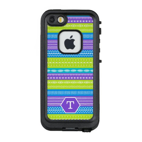 Monogram peacock color stripes sewing stitches LifeProof FRĒ iPhone SE/5/5s case