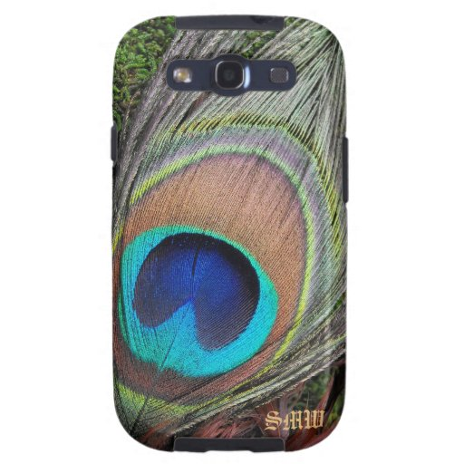 Monogram Peacock Feather Samsung Galaxy Case Samsung Galaxy SIII Covers