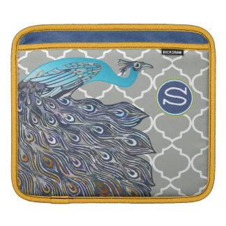 Monogram Peacock Moorish Tile Pattern iPad Sleeve For iPads