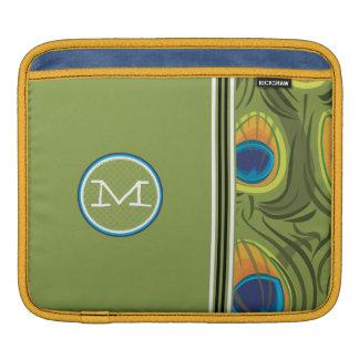 Monogram Peacock Pattern Racing Stripe iPad Sleeve