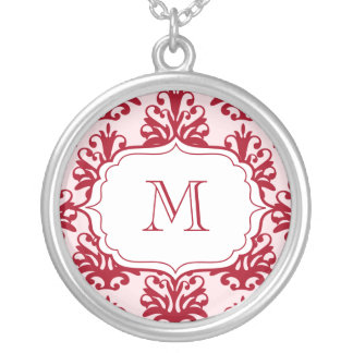 Monogram Pendant Initials Necklace Red Damask