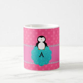 Monogram penguin pink polka dots coffee mug